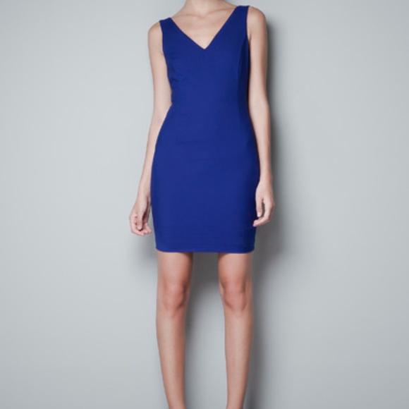 cf50d6cc Zara Dresses | Cobalt Blue Vneck Dress | Poshmark