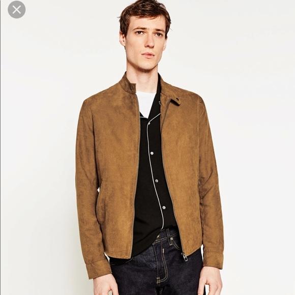238962fa Zara Jackets & Coats | Mens Brown Faux Suede Jacket | Poshmark