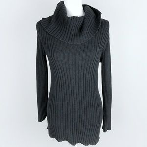 Oversized Cowl Neck Black Sweater Longsleeves Rib