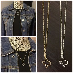 ⭐️Texas State Silver Plated Pendent Charm Necklace