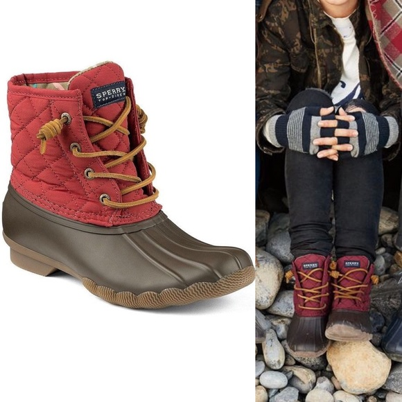 Sperry Saltwater Quilted Duck Boots Red