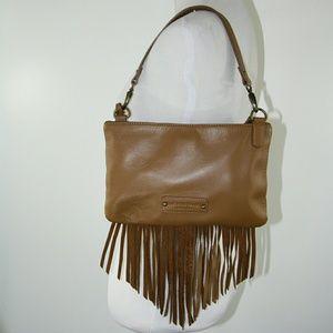 Lucky Brand Leather Fringe Bag Caramel Color