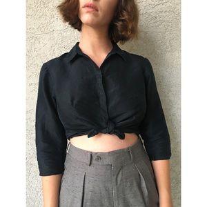 [vintage] 100% silk black cropped button up