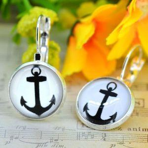 Jewelry - Anchor Glass Cabochon Silver Drop Dangle Earrings