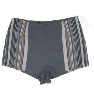 Free People Charcoal Combo Stripe Mini Shorts