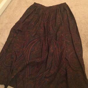 Ralph Lauren Stunning Paisley Browns Wrap 100% Silk Skirt Multi Color 8 Women's Clothing