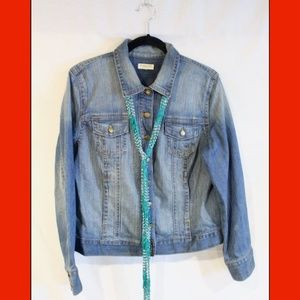 Jean Jacket & Teal Neck Accessory! Like New!