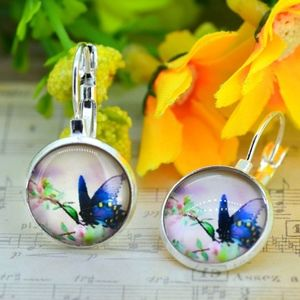 Silver Glass Cabochon Floral Butterfly Earrings