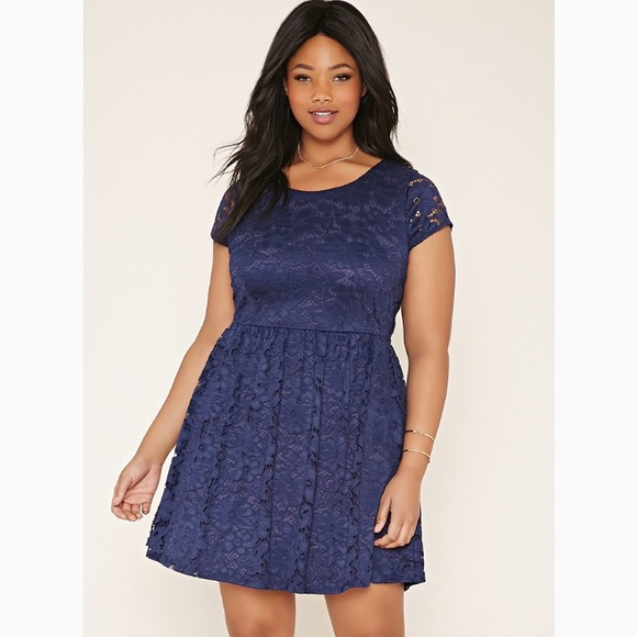 Navy Lace Floral Plus Size Dress