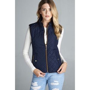 LAST ONE!! Quilted Padded Vest-NAVY