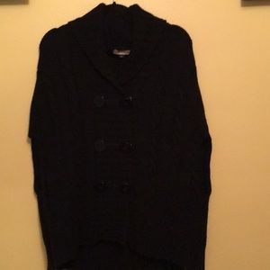 See by Chloe knit button up collared black poncho