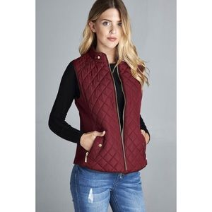 Quilted Padded Vest- BURGUNDY