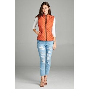 Quilted Padded Vest-RUST