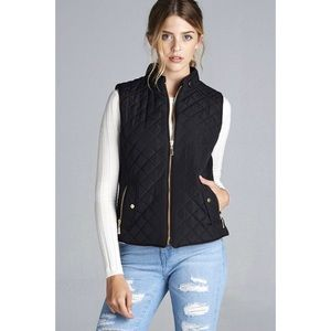LAST ONE!! Quilted Padded Vest-BLACK