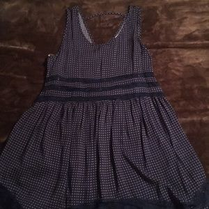 Navy & ivory gingham A-line dress