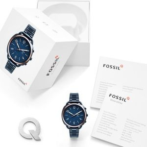 NEW Fossil Hybrid Smartwatch Navy Stainless Steel