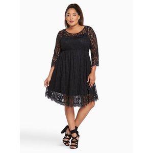 61d2e30811b torrid Dresses - 🖤FINAL PRICE Torrid Black Lace V-Hem Skater Dress