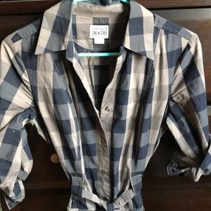 Plaid converse shirt dress in grey and navy