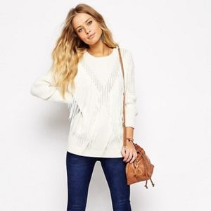 NWT Asos cream white fringe sweater