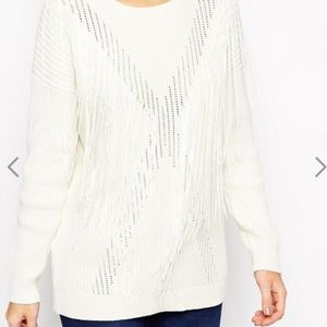 ASOS Sweaters - NWT Asos cream white fringe sweater