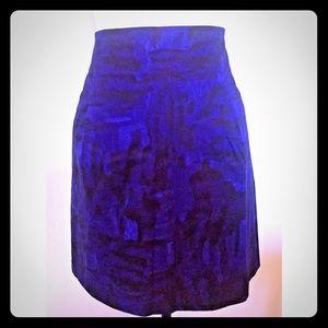 Theory Lorenna Brushstroke Print A-Line Skirt