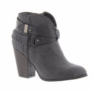 XOXO Black Kasper Strappy High Heeled Ankle Boots