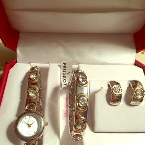 Peugeot  watch & Jewelry Set. NWT stainless steel