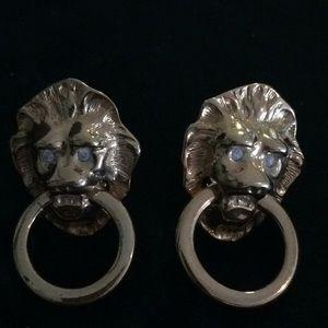 Kenneth Jay Lane K.J.L. Avon Lions head earrings