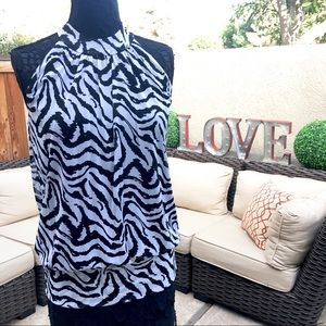 K Cole Zebra print Sleeveless High Neck Halter