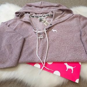 NWT 💜PINK by VS lilac lace up hooded pullover XS