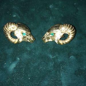 Kenneth Jay Lane K.J.L. Avon rams head earrings