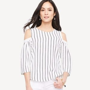Ann Taylor striped cold shoulder bell sleeve top