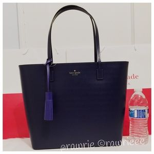 New Kate Spade Navy leather tassel zip tote