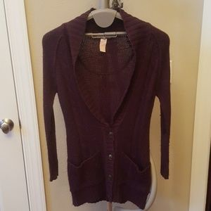 Tulle sweater purple sz s/p cardigan w/buttons