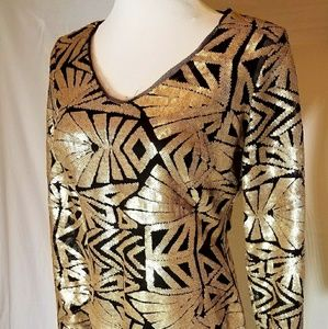 Marina Rinaldi Metallic Gold Dress - Brand New