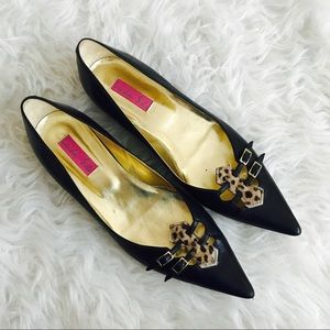 London Sole Leopard Trim Kitten Heels