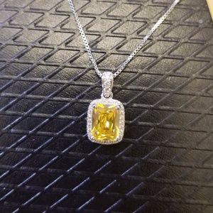 18k Swarovski yellow emerald  halo necklace