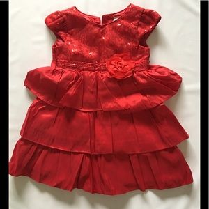 Sleeveless Girls Party Dress 4T red