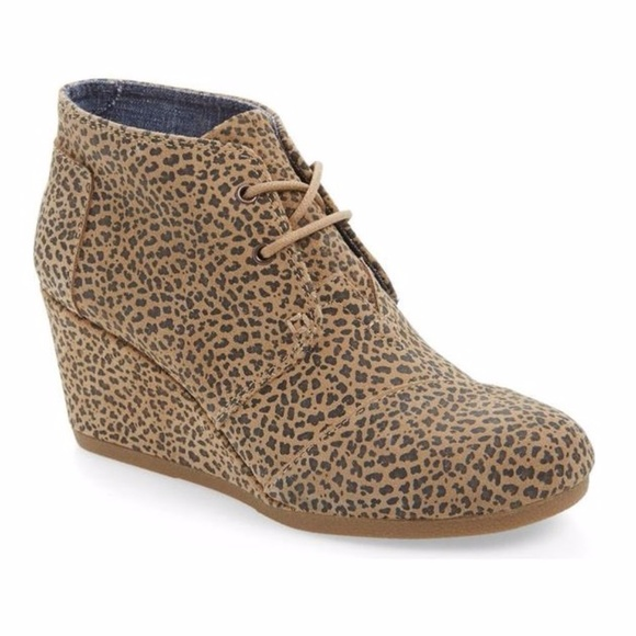 778e8040ef0 New In Box TOMS Desert Cheetah Print Wedge Booties