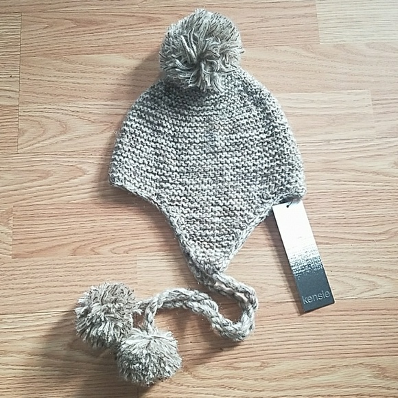 be08f7b134c NWT Kensie Knit Brown Hat with Pom Poms