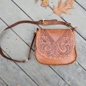Handbags - REAL Leather Hand-Tooled Satchel Purse- NO WEAR!