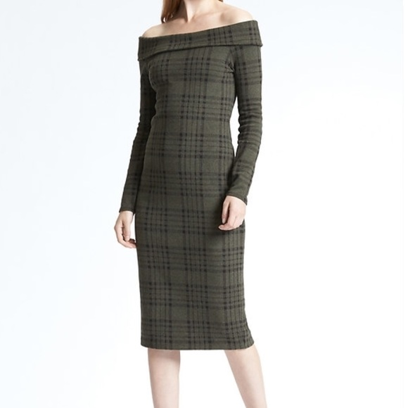 Banana Republic Dresses Plaid Midi Sweater Dress Nwt Poshmark