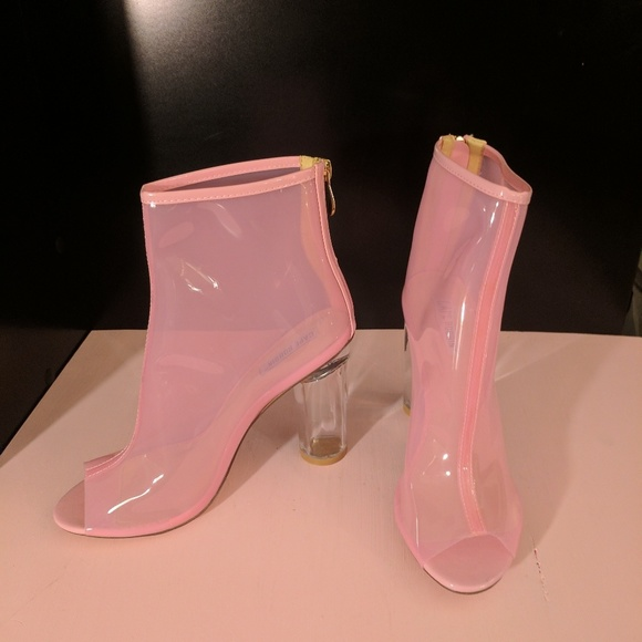 ed6f794a0c cape robbin Shoes | Pink Lucite Peep Toe Ankle Boots With Thick Heal ...