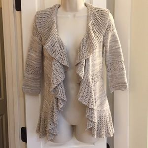 Ruffled Open Front Cardigan Sweater