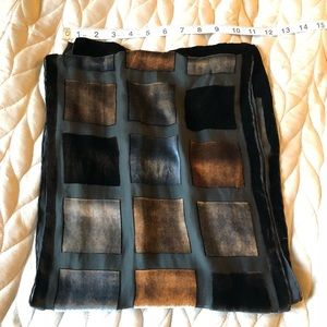 Accessories - Sheer and velvet square pattern scarf