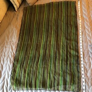 Accessories - Sheer green and brown striped scarf
