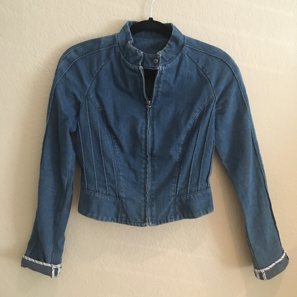 075ab97066 Free People Jackets   Blazers - Cropped Denim Moto Jacket