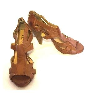 Brown Faux Leather Heeled Sandals