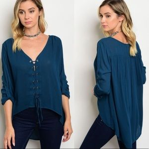 Tops - Teal lace up top