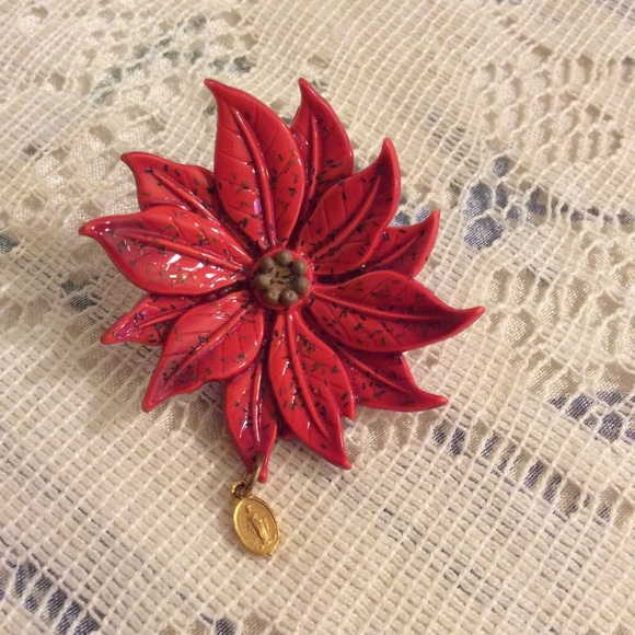 Vintage Jewelry - Mother Mary Red Poinsettia Brooch